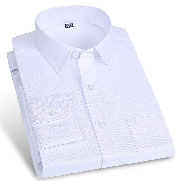 Men's Standard-fit Solid Basic Dress Shirts for Work Office Wear Soft Comfortable Formal Business Easy Care Male Tops Shirt #681114