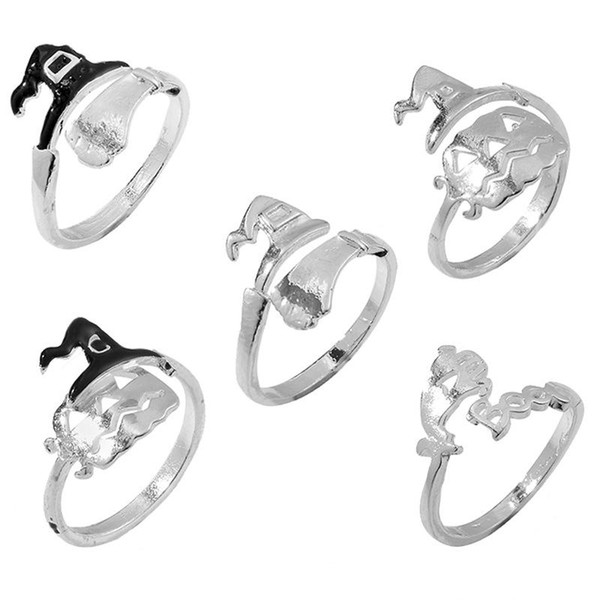 Pumpkin Rings Cute Halloween Jewelry Witch Hats Broom Mop Pumpkin Lamp Alloy Finger Rings Hollow Out Women Men Ring