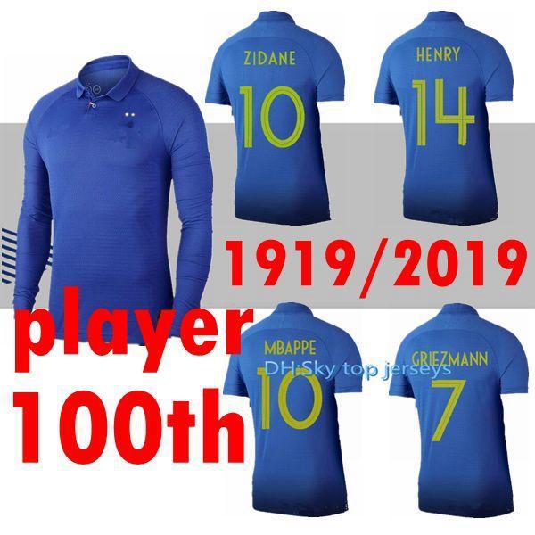 OYUNCU Frances 1919-2019 Special Edition Yüzüncü Yıl Futbol HENRY Uzun Kollu 100TH Tayland GRIEZMANN MBAPPE POGBA Futbol Kazak