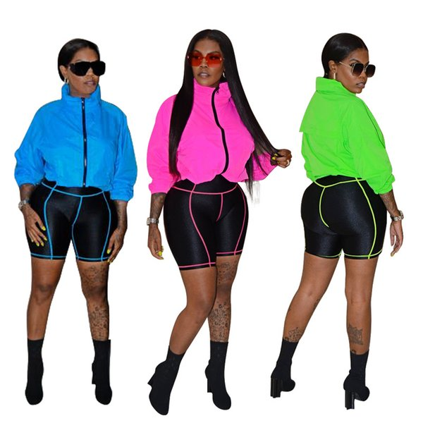 New Arrival Women Casual Tracksuit Long Sleeve Zipper Neck and Short Pants Two Piece Sets Womens Sport Suits P747
