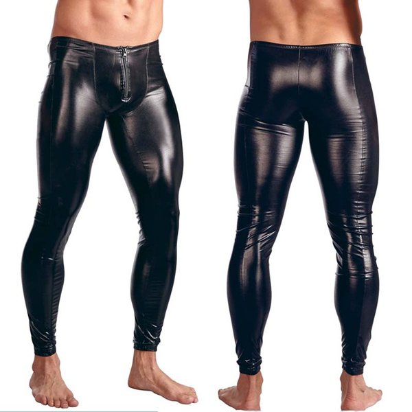 Mens Black Faux Patent Leather Pants Stage Skinny Performance Pants Stretch Leggings Men Sexy Bodywear Trousers