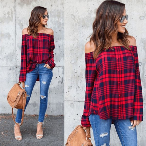 Womens Off Shoulder Check Plaid T Shirt Tops Ladies Casual Long Sleeve Blouse