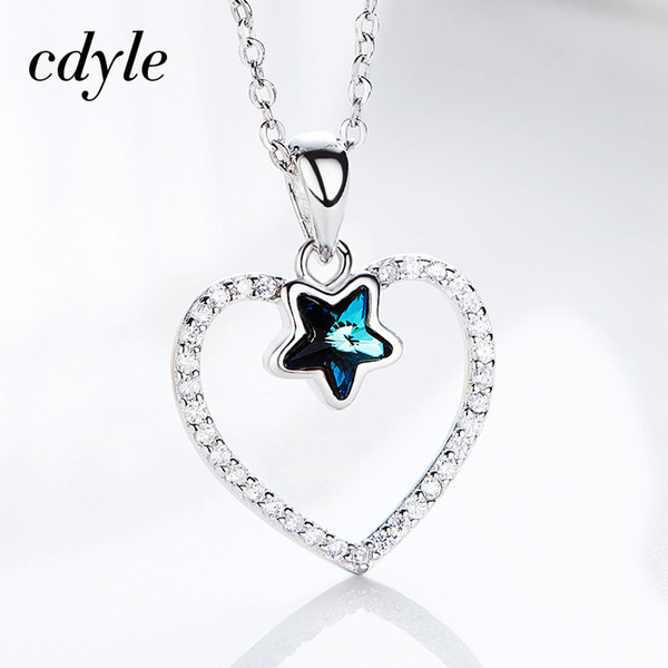 f9950c59c dhgate S925 Sterling Silver Heart Necklace Star Crystals from Swarovski  Charm Pendant Necklace For Women Romantic