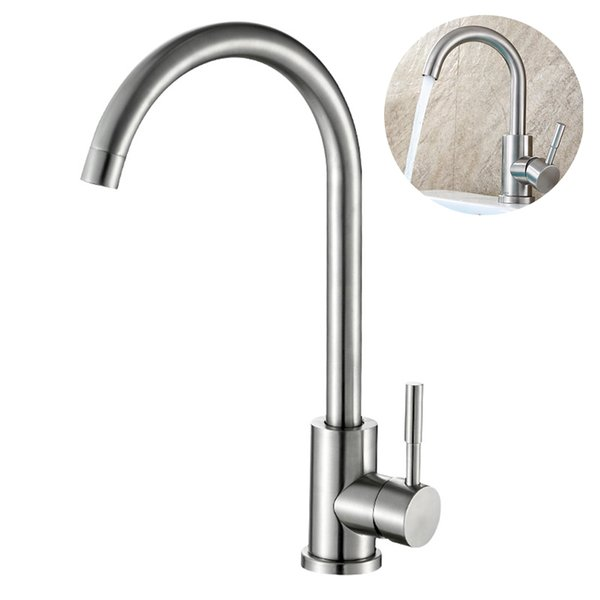 Stainless Steel Sink Faucet Deck Mount Durable Practical Silver Kitchen Tap Water Spout Swivel Design Bathroom Flexible Home
