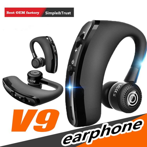 high quality V9 Bluetooth earphone CSR 4.1 Business Stereo Earphones With Mic Voice Control Wireless earphone with package hot new
