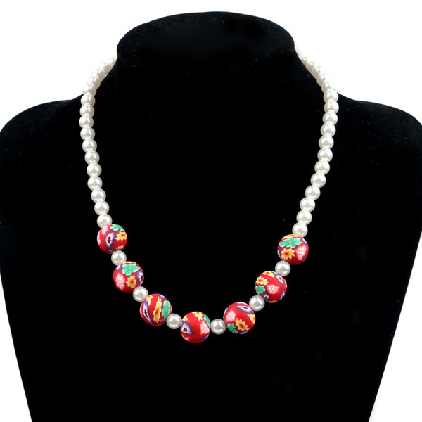 Collar de perlas de cerámica suave para niños Nueva pulsera del collar de los niños de Corea del Sur Rebordear a mano 3 joyas de colores La princesa suéter cadena a