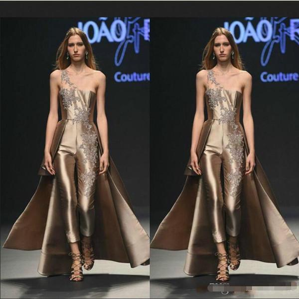 Krikor Jabotian robes de bal salopette en or rose une robes de soirée formelles appliques de dentelle épaule de piste filles maigres robe occasion spéciale