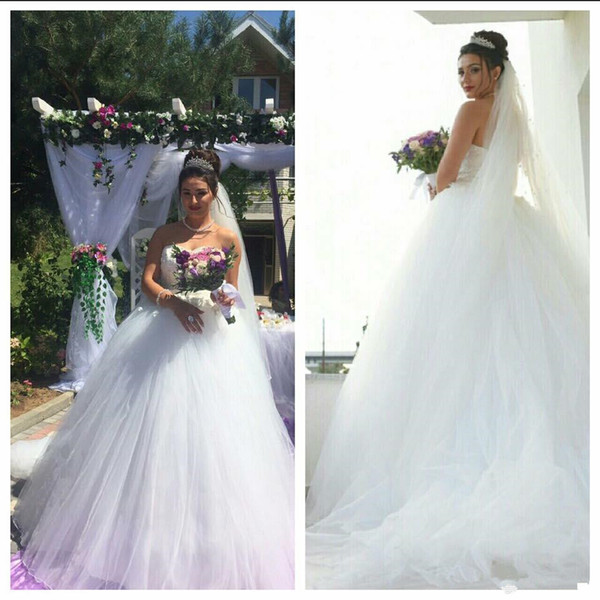 White Tulle Country African Ball Gown Wedding Dresses With lace Applique China Long Train Reception Wedding Dress Bridal Gwons