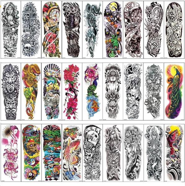 Plein bras bras de tatouage temporaire crâne de dragon pivoine pivoine Paon conçoit imperméable Cool hommes femmes tatouages autocollants Body Art peintures