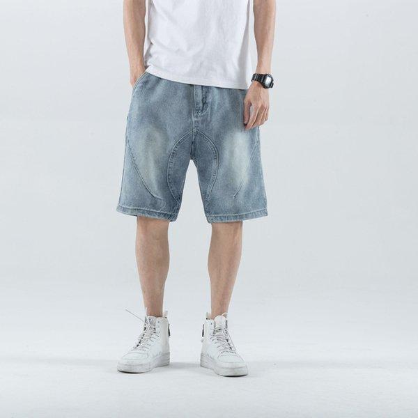 Yaz yeni erkek yakışıklı büyük boy beş kuruş pantolon, hip-hop pantolon, kot pantolon ve şort