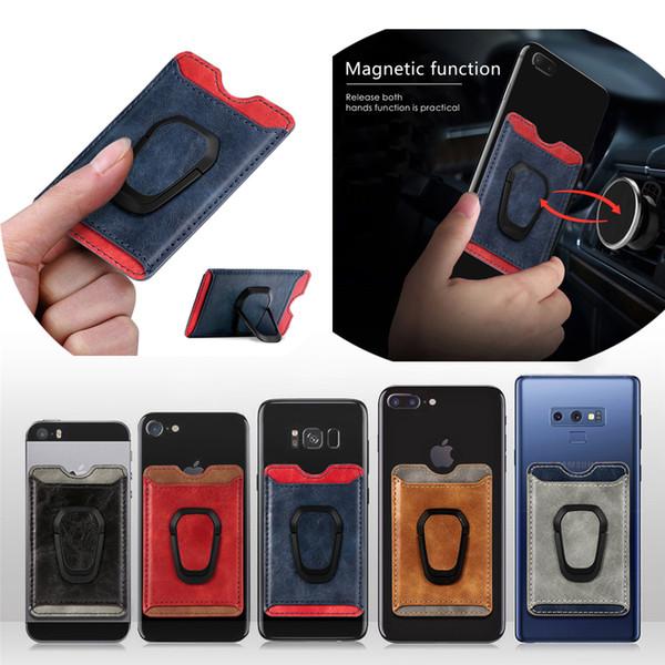 Telefono universale Portafoglio carta di credito slot autoadesivo di 3M del basamento del supporto del cuoio del magnete di aspirazione dell'automobile per iPhone Samsung Huawei Xiaomi LG MOTO mobile