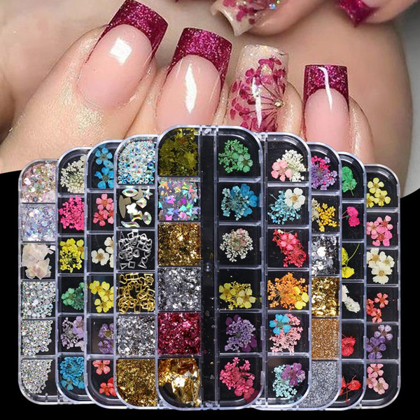 top popular New Dried Flowers Glitter Flakes Mix Nail Decorations Floral Leaf Sticker Jewelry Summer Beauty DIY Accessories 12 Grid 2021