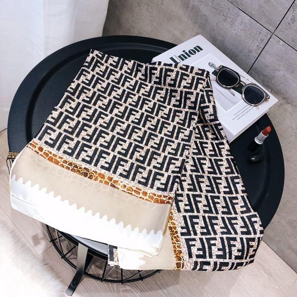 2019 Весна FF известных женщин шелковая шаль шарф полный логотип печатные буквы шарф пляж шаль с тегом размер 180x90 см