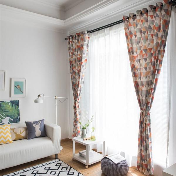 Salon Home Decor İçin Yeni Yüksek Kaliteli Yumuşak Renkli Pamuk Panjur Baskı Hattı Gölgelendirme Pencere CurtainsBlack Out Kırmızı Perde