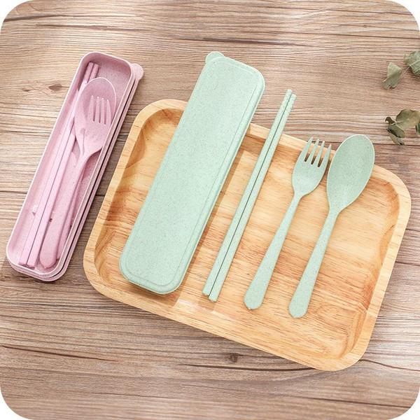 top popular Nordic Style wheatstraw portable tableware travel dinnerware Eco-friendly dinner set Environmental Case Fork Spoon Set Cutlery 100 2021