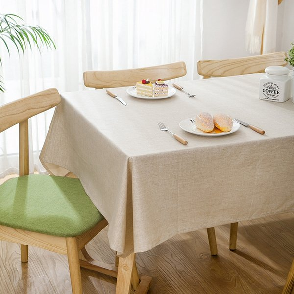 Solid Grey Beige Color Linen Tablecloths Nordic Style Tablecloth Waterproof Table Cover For Home Decor Party Dining Table Cloth