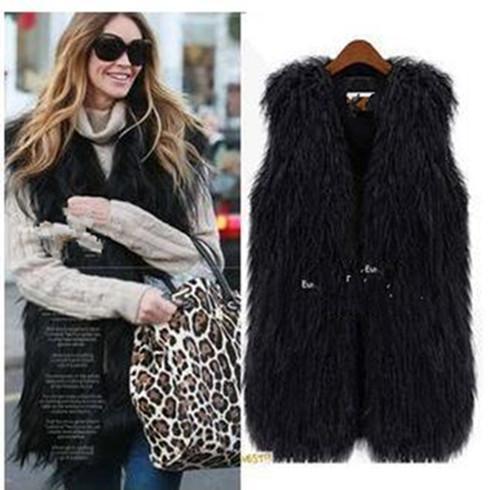 2018 Autumn Winter Women Long Style Faux Fur Fur Vest Coat Outerwear Jacket Coat Lady Sleeveless Waistcoat YR184