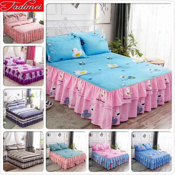 High Quality Soft Cotton Bed Skirt Adult Couple Child Girl Princess Bed Cover Linen Single Full Twin Queen Size Bedskirt 150x200