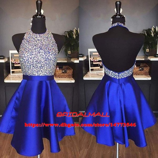 Lovely 2019 Crystal Satin Royal Blue Homecoming Dresses Halter Backless Beading Short Cocktail Party Gowns Cheap Short Prom Dress Graduation