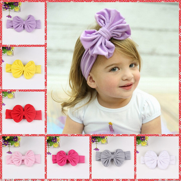 Nuove fasce per bambina in pizzo elastico, fasce per capelli grande fiocco caldo per ragazze, fascia elastica per bambini per ragazze in 8 colori