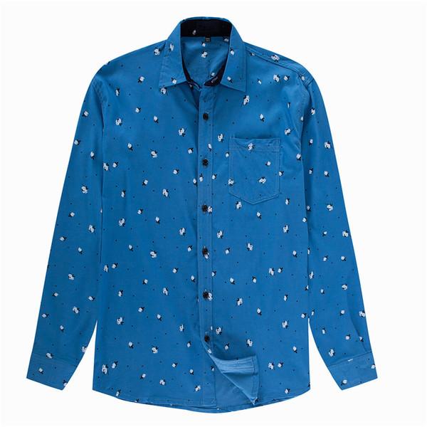 Small Flowers Printed Male Shirts Cool Boys Floral Blouse High Quality Autumn Wear Men Tops 2018 Turn-down Collar Man Shirt 3XL
