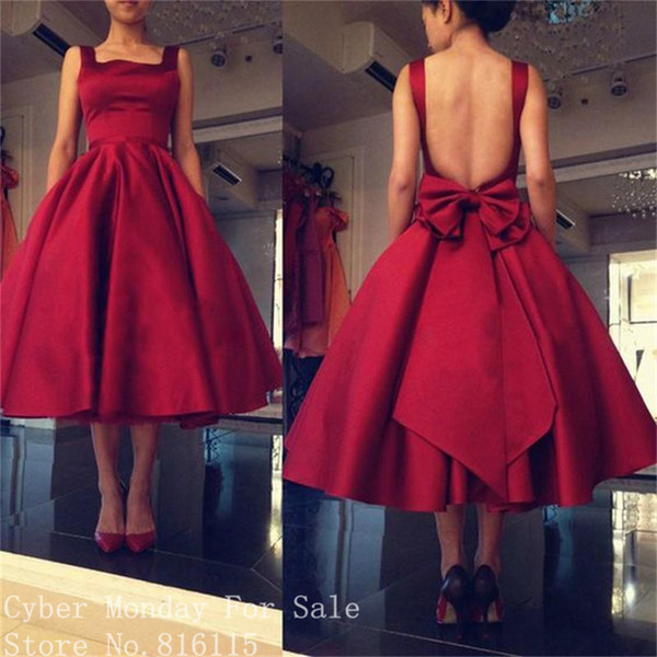 Dark Red Short Prom Dresses 2019 Fashion Square Collar Backless Tea-Length Evening Dress with Bow Back Wine Color Gowns