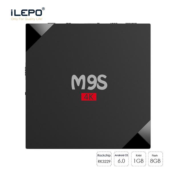 M9S 4K TV Streaming Boxes Quad Core Android 6.0 TV Box 1GB 8GB inteligente Modelo de reproductor de medios privado compatible con LAN WiFi 2.4 GHz controles remotos inalámbricos
