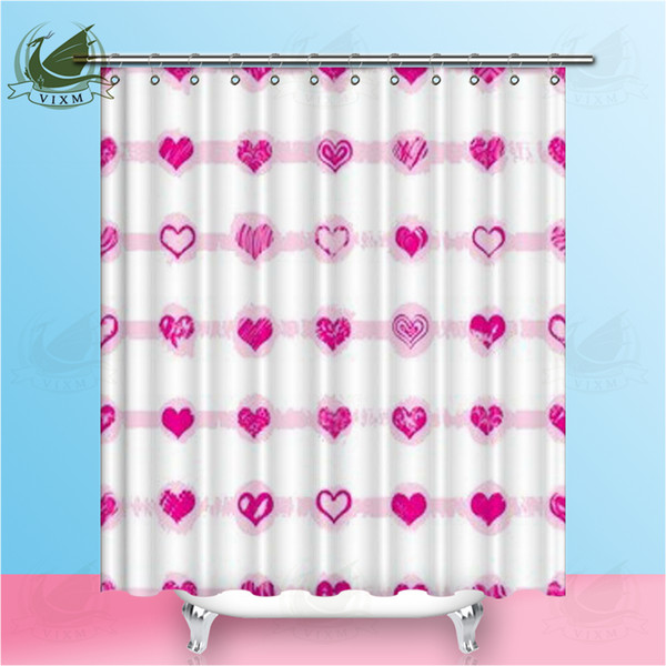 Vixm Valentine's Day Red Love Simple Modern Style Shower Curtains Plant Red Rose Waterproof Polyester Fabric Curtains For Home Decor