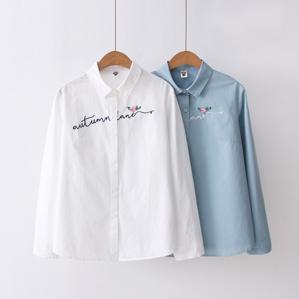 White 100% Cotton Women School Shirt Letter Floral Embroidery Blue Tops Ladies Blouses Long Sleeve Female Office Shirt