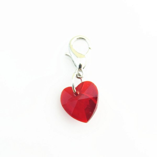 wholesale 50pcs red heart Crystal Birthstone Charm floating dangle charm for Silver Lobster Clasp Pendant for DIY Jewelry
