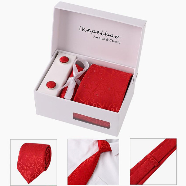 Ikepeibao Competitive price RED Men Casual Ties Set Cufflink Hanky Clips Neckties with Gift Box