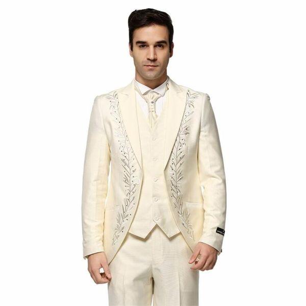 Embroidery Groom Tuxedos Ivory Groomsmen Mens Wedding Dress Peak Lapel Man Jacket Blazer Fashion 3 Piece Suit(Jacket+Pants+Vest+Tie) 1483