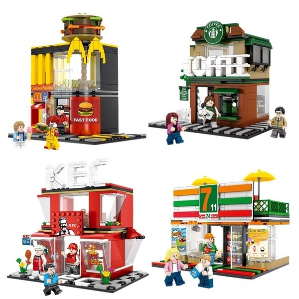 4 Sets Mini City Street Coffee Shop Hamburger Store Building Blocks Compatible City Diy Bricks Toys For Children GiftsMX190820