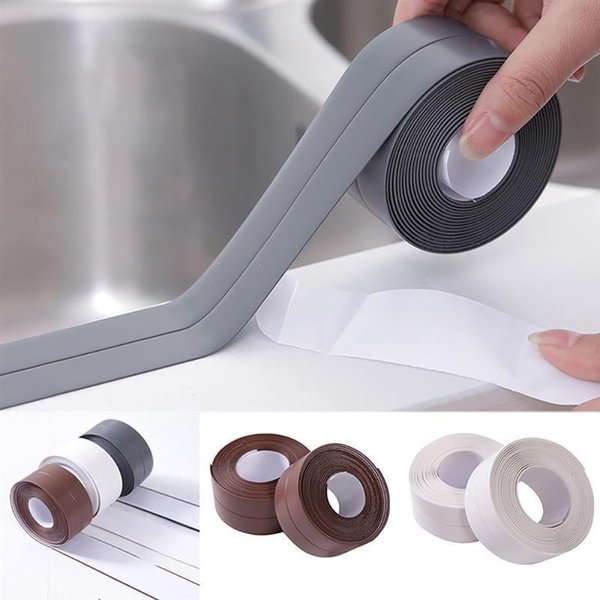 top popular 3.8*320cm Self Adhesive Kitchen Ceramic Sticker Waterproof Anti-moisture PVC Sticker Bathroom Wall Corner 2021