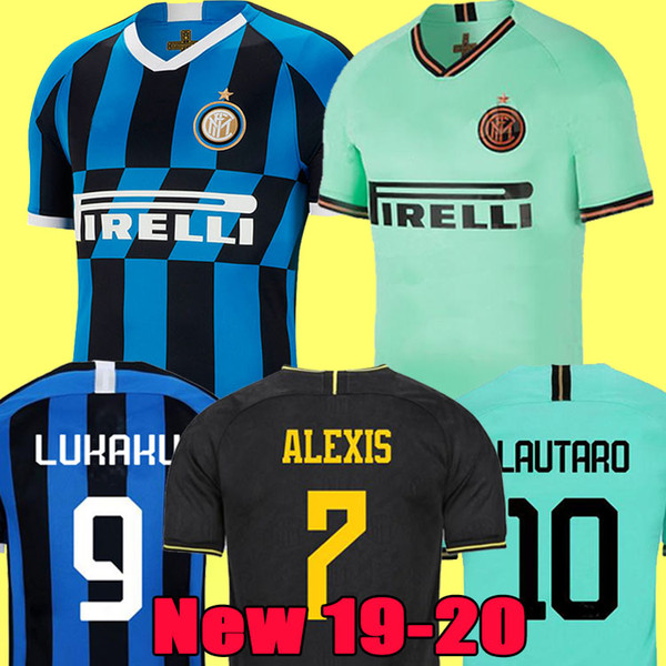 top popular LUKAKU ALEXIS LAUTARO SKRINIAR Inter 2019 2020 Milan soccer jersey GODIN BARELLA PERISIC NAINGGOLAN jerseys 19 20 football top kit shirts 2019