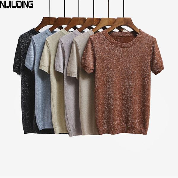 Zomer Gebreide T-shirt Top Tees Korte Mouwen Solid O-hals T-Shirts Mode Slim Knitwear T-shirt Dropshipping