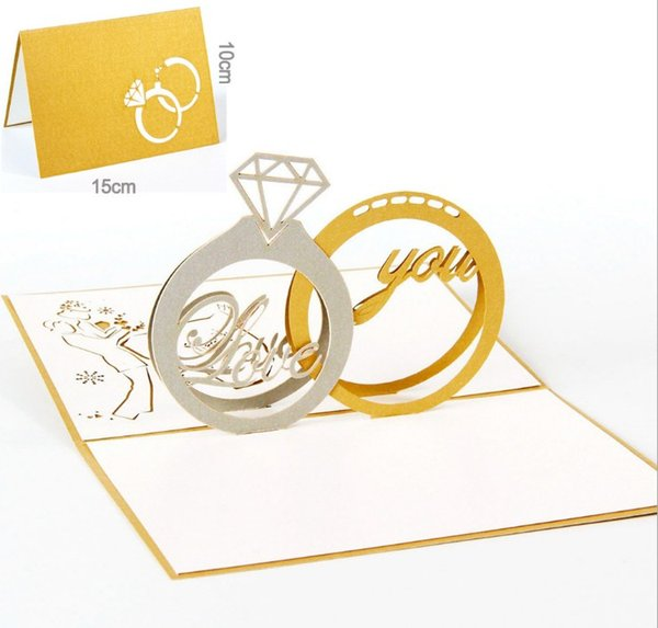 hot sale Gold Laser Cut 3d Ring Pop up Wedding Invitations Romantic Handmade Valentine's Day for Lover Postcard Greeting Card 2 ring