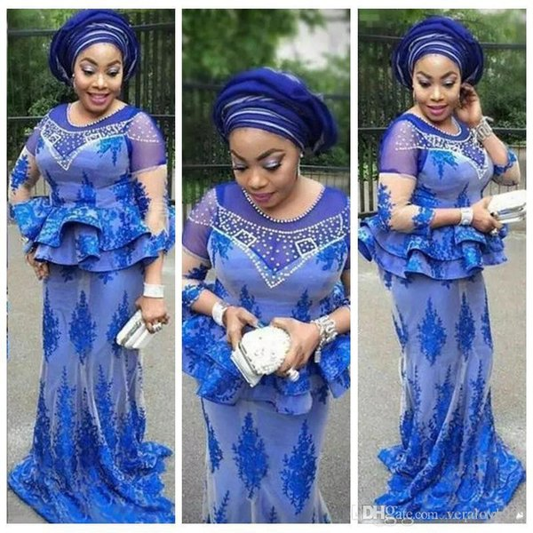 Plus Size African Royal Blue Prom Dresses Mermaid Pearls Beaded Nigerian Lace Appliques Aso Ebi Evening Gowns Mother Of The Bride Dresses