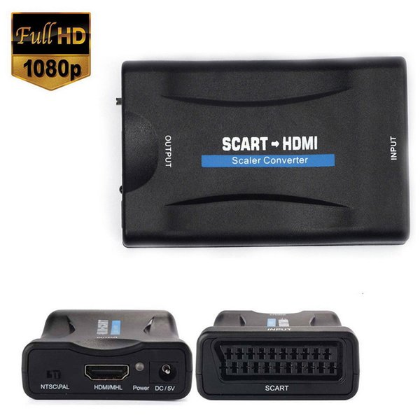 1080P HDMI to SCART to HDMI Composite Video Stereo Converter Audio Adapter with USB Cable For Sky Box HD TV DVD STB Wholesale