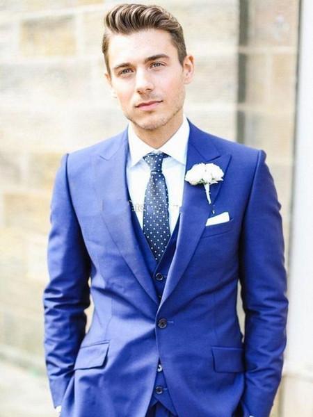Mode bleu royal smokings marié pointe Lapel Hommes mariage Smokings excellent homme Blazer 3 Piece Suit (Veste + pantalon + veste + Tie) 1084