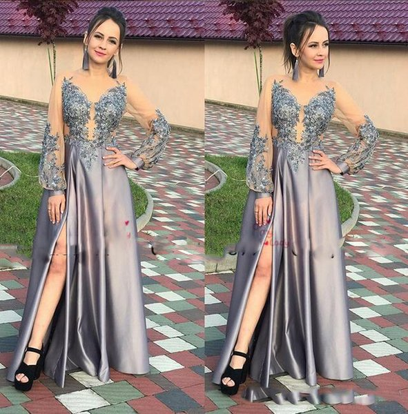 Grey A-line Prom Dresses with Lace Applique sequined sheer long Sleeve sexy split Evening Dress cover buttom Robe De Soiree Party Gowns
