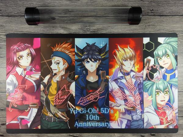 10 ° Anniversario della 5D Yu-Gi-Oh! Tubo di gioco personalizzato con carta da gioco Playmat
