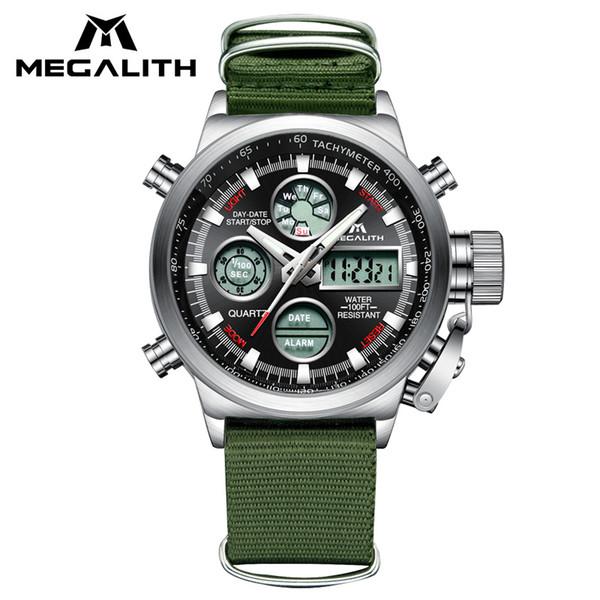 wholesale LED Digital Mens Watches Army Green Nylon Strap Wrist Watch Waterproof Chronograph Alarm Sport Watches Clock Erkek