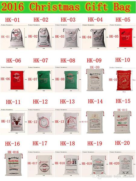 2017 Bolsas de Regalo de Navidad Bolsa de Lona Pesada Orgánica Grande Bolsa de Cordón Saco de Santa Con Renos Santa Claus Bolsas de Saco Decoraciones