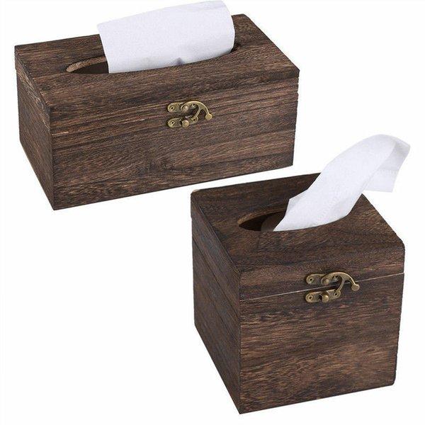Useful Wooden Retro Tissue Box Cover Paper Napkin Holder Case Home Car Decor