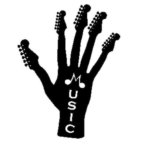 Rock Music Guitar Hand Car Window Bumper Vinyl Decal JDM Sticker Handsome And Cool Stickers 13.5CM x 17.8CM