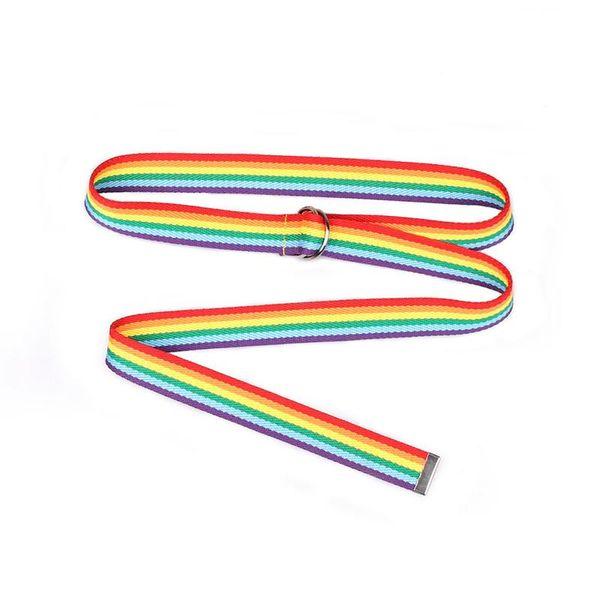 2019 Rainbow Faixa de Lona Cinto Unisex Duplo Anel D-Tipo Fivela Jeans Cinto Decorativo Rua Casual Selvagem Longa Moda Cintura