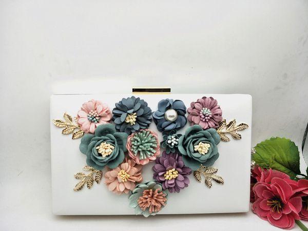 Korean Fairy Flower Appliques Evening Bag Flower Bridemaid Wedding Banquet Day Clutches bag Pink Black PU Chain Shoulder