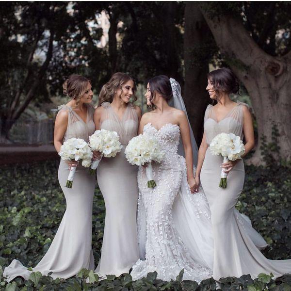 Sheer elegante de la sirena de satén acanalada vestidos de dama de correas por encargo del baile de los vestidos de noche de barrido tren vestido de huésped de la boda