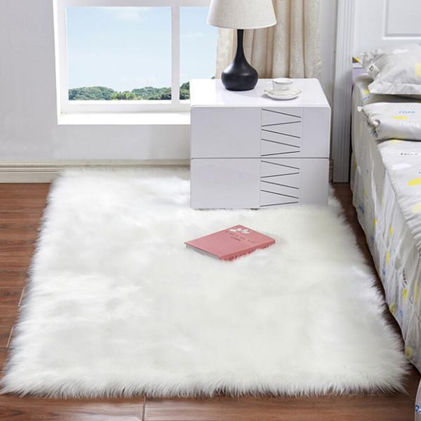 Couverture de chaise de tapis de peau de mouton artificielle doux laine artificielle chaud tapis de poil velu siège fourrure moelleux carpettes Home Decor 60 * 120 cm